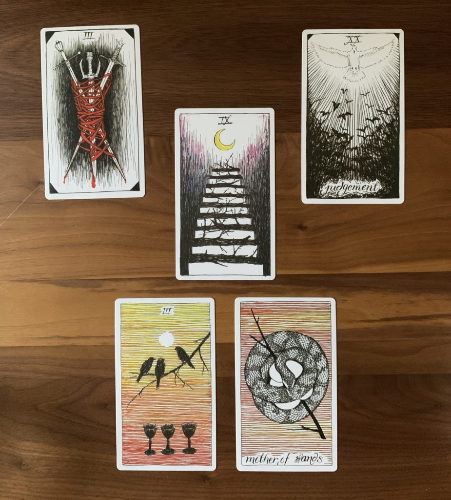 The work week ahead spread, using the Wild Unknown deck and showing the Three of swords, Judgement, the Nine of wands, the Three of cups, and the Queen of wands.